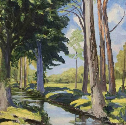 """The Moat at Breccles"" c. 1921, Oil on canvas, 20 x 20 inches"