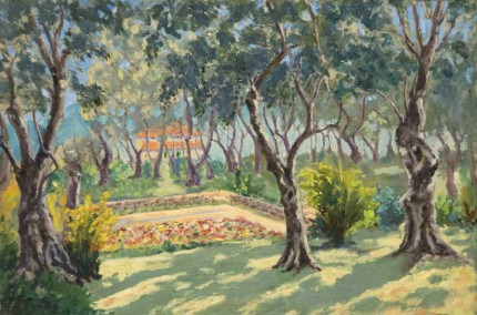 """The Sunken Garden of La Dragonnière, Cap Martin"" c. 1930, Oil on canvas, 20 x 30 inches"