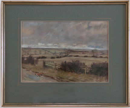 """The Quorn Looking Towards Ellas Gorse"" Watercolour & Gouache on paper, 10 x 13 inches, 15.5 x 18.5 inches, Signed in ink lower right 