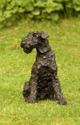 """""""Rusty"""" Airedale Terrier, Bronze resin, 10 x 8 x 5 inches"""