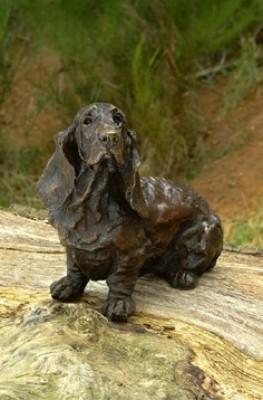 """""""Pluto"""" Basset Hound, Bronze resin, 15 x 13 x 10 inches"""