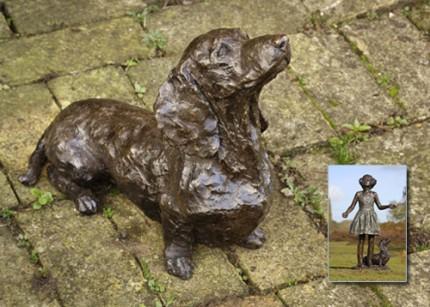 """""""Smartie"""" Dachshund, Bronze resin, 12 x 14 x 19 inches"""