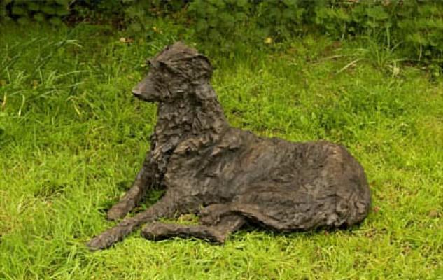 """""""Iolanthe"""" Deerhound, Bronze resin, 20 x 34 x 32 inches"""
