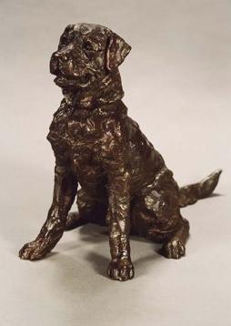 """Charlie"" Labrador, Bronze resin, 12 x 15 x 8 inches"