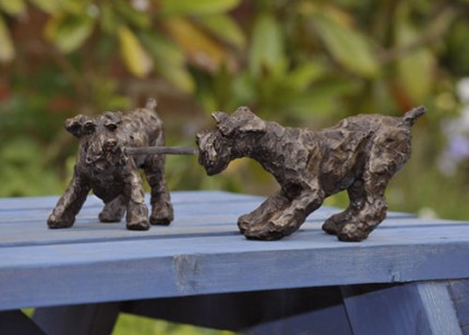 """""""The Great Game"""" Schnauzer, Bronze resin, 5 x 16 x 7 inches"""
