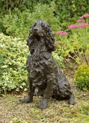 """Dash"" Springer Spaniel, Bronze resin, 28 x 14 x 18 inches"