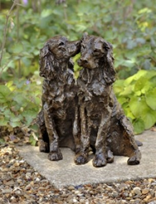 """""""Young Ones"""" Springer Spaniel, Bronze resin, 11 x 9 x 15 inches"""