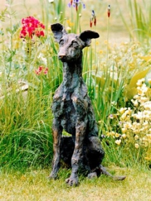 """""""Puppy"""" Whippet, Bronze resin, 24 x 15 x 12 inches"""