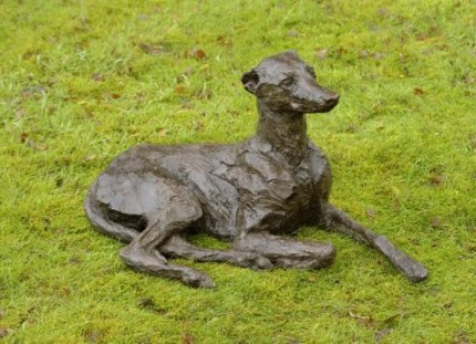 """""""Willow"""" Whippet, Bronze resin, 16 x 29 x 17 inches"""