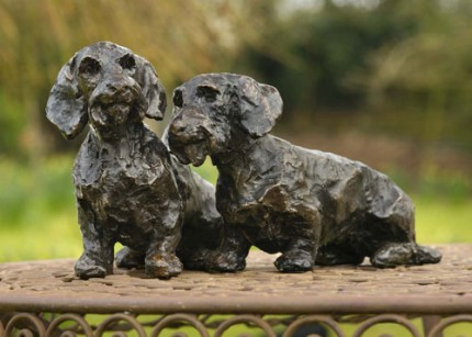 """""""Freda & WIlfred"""" Wirehaired , Bronze resin, 6 x 9 x 3 inches"""