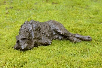 """Hesperus"" Wolfhound, Bronze resin, 5 x 15 x 9 inches"