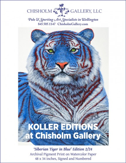 """HELMUT KOLLER """"Siberian Tiger in Blue"""" Archival pigment print on watercolor paper, Edition 2/24, 48 x 34 inches, Signed and numbered"""