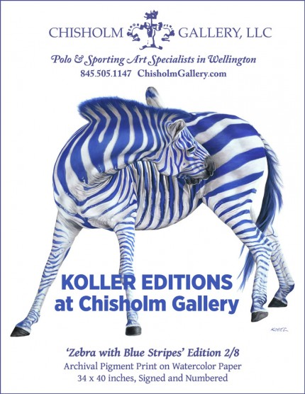 """HELMUT KOLLER """"Zebra with Blue Stripes"""" Archival pigment print on watercolor paper, Edition 2/8, 34 x 40 inches, Signed and numbered"""