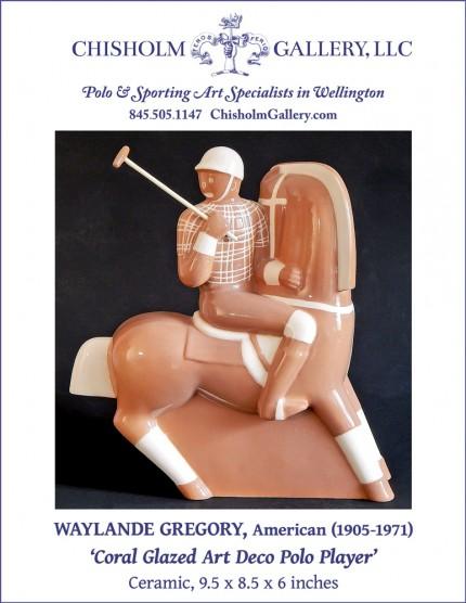 "Waylande Gregory ""Coral Glazed Art Deco Polo Player"""