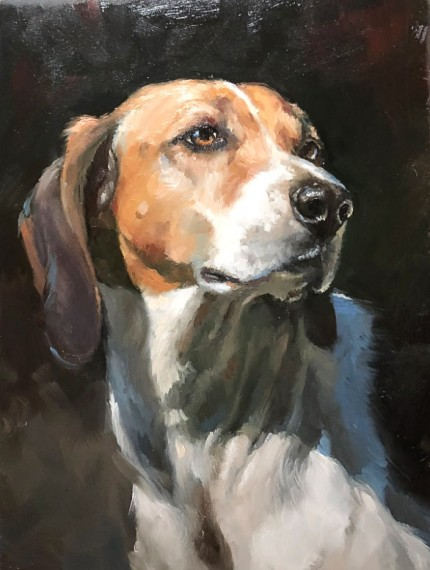 """""""Portrait of a Radnor Hound"""" Oil on board, 12 x 9 inches, Signed"""