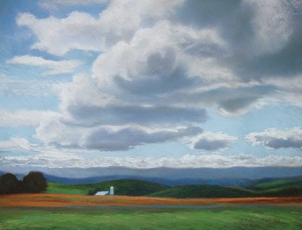 """""""Catskill Sky"""" Pastel on paper, 18 x 24 inches, Signed F. Pieter Lefferts 2006, Sudden Skies series"""