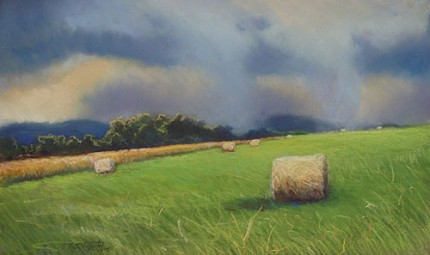 """""""Haybales In A Summer Storm"""" Pastel on paper, Signed F. Pieter Lefferts 2006, Sudden Skies series"""