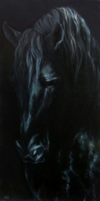"""""""Minorquine II"""" Oil on linen, 39 x 19 inches, Signed"""