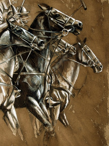 """""""Polo I"""" Ink and pastel on paper, 16 x 12 inches, Signed"""