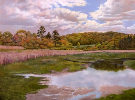 """Baldwin's Pond, Parting Clouds"" 2009, Oil on linen, 30 x 40 inches, Signed and dated lower right: Carolyn H Edlund 2009"