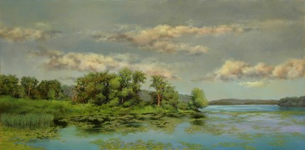 """Bontecou Lake"" 2013, Oil on panel, 12 x 24 inches, Signed lower left: Carolyn H Edlund"