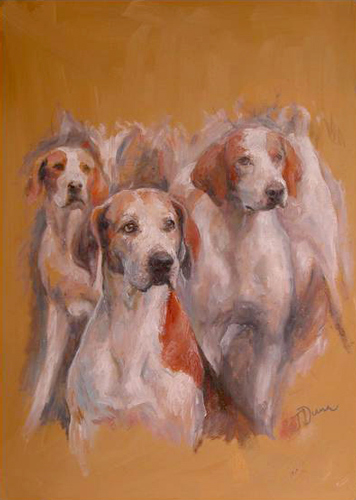 Hounds, oil on canvas, 18 x 13 inches