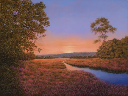 """Loosestrife Illuminated"" 2009, Oil on linen, 30 x 40 inches, Signed and dated lower left: Carolyn H Edlund 2009"