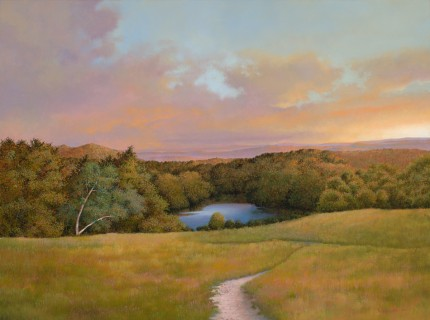 """Olana Pond"" 2009, Oil on linen, 30 x 40 inches, Signed and dated lower right: Carolyn H Edlund 2009"