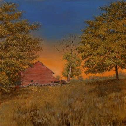 """Old Barn (Fiddler's Bridge Rd, Hyde Park)"" 2012, Oil on panel, 12 x 12 inches, Signed lower right: Carolyn H Edlund"