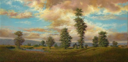 """Peaceful Contemplation"" 2007, Oil on canvas, 12 x 24 inches, Signed and dated lower right: C Hutchings Edlund 07"