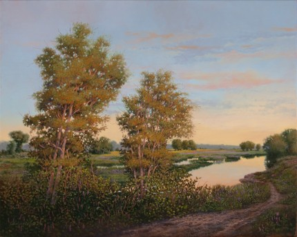 """Quiet Morning"" 2010, Oil on linen, 24 x 30 inches, Signed and dated lower right: Carolyn H Edlund 2010"
