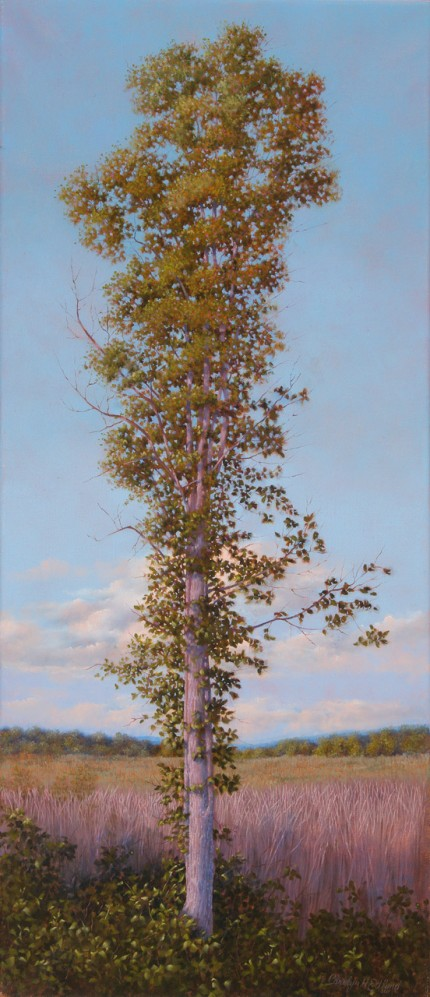"""The Sentry"" 2011, Oil on linen, 30 x 13 inches, Signed and dated lower right: Carolyn H Edlund 2011"