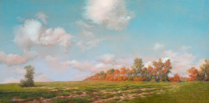 """Beautiful Day - Early Autumn (Wethersfield grounds)"" 2008, Oil on canvas, 15 x 30 inches, Signed and dated lower right: Carolyn H Edlund 2008"
