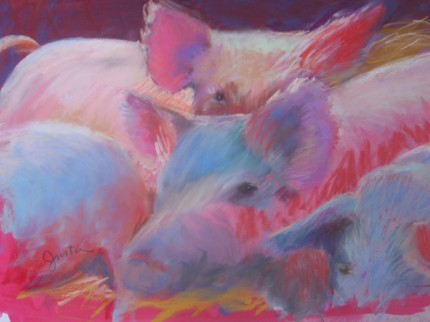 """""""Pigs in Crowd"""" pastel on paper, 21 x 27 inches"""