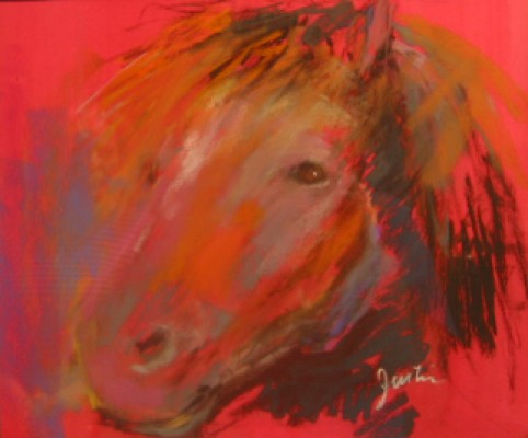 """""""Red Pony"""" pastel on paper, 19 x 21 inches"""