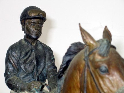 """Chris McCarron (detail with John Henry)"" Bronze"