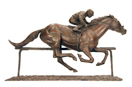 """""""To the Finish Line"""" Bronze, 12 x 16 inches, Signed"""