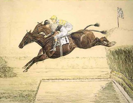 """The Water - The Aiken Hunters Steeplechase"" Pastel and ink