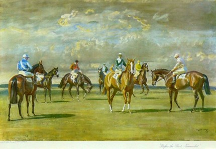 """Before the start, Newmarket"" Original titled print c.1950, 18 x 26 inches, Framed in a 2 inch moulded brown and gold"