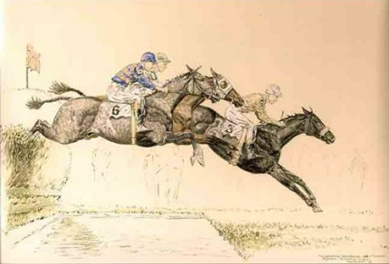 """The Water - The Corinthian Steeplechase"" Pastel and Ink