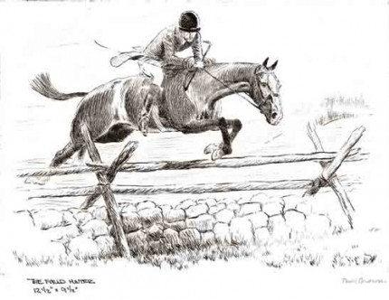 """The Field Hunter"" Dry point etching, 9 ½ x 12 ½ inches,