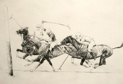 """Left Backhander and a Hook"" International Polo Argentina vs USA (Copa de las Americas) in 1928, Dry point etching, 8 x 8 ½ inches, Signed and dated 1928"