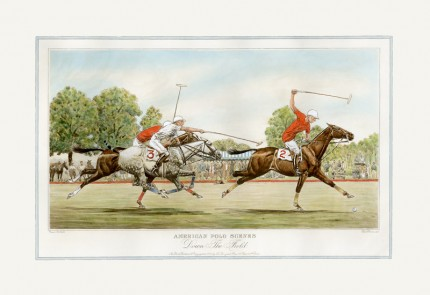 """Down The Field"" American Polo Scenes, Derrydale Press 1930, Printed on imported handmade paper, Plate: 12 ½ x 20 inches, Paper: 17 x 24 inches, Signed lower left, Titles engraved in the same style as other sets of American Sporting scenes published by The Derrydale Press, 1930, Only 175 signed proofs were produced of each print, which makes a bona fide set of four rare and valuable."
