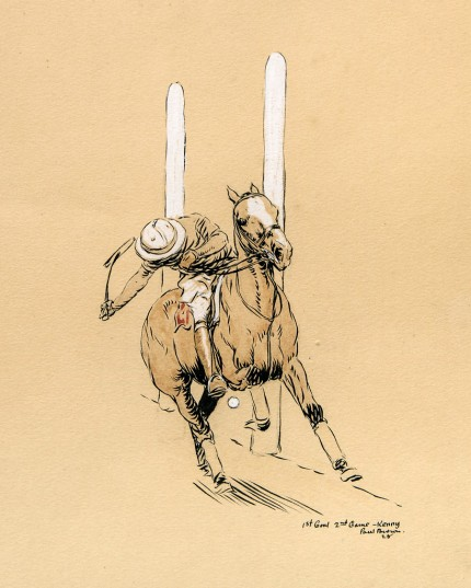 """1st Goal, 2nd Game - Kenny"" International Polo Argentina vs USA (Copa de las Americas) in 1928, Watercolour, 9.5 x 10.5 inches, Inscribed, Signed & Dated, Paul Brown '28, lower right"