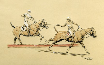 """Hitchcock hooks Nelson - 2nd Period, 2nd Game"" International Polo Argentina vs. USA (Copa de las Americas) in 1928, Watercolour on paper over traces of black ink, heightened with white, 11 x 17 inches, Inscribed, Signed & Dated '28, lower right"