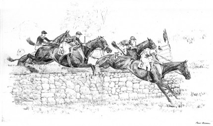 """Meadowbrook Hunt Cup, 1929"" Dry point etching, 7 x 11 inches, 12.5 x 16.5 inches, Framed & Signed lower right"
