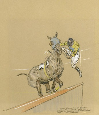 """Jockey Dismounting"" 1949, Graphite & Coloured Pencil on paper, Signed & Inscribed"