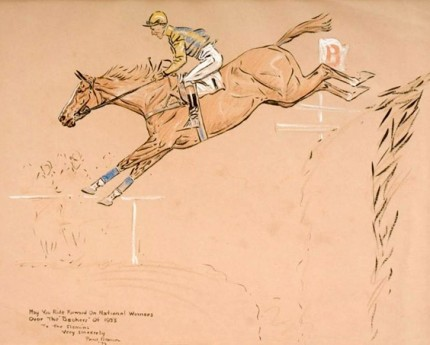 """Jumping Horse"" Mixed Media, Signed & Inscribed"