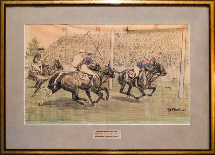 """The First Goal Scored by Mr. Hitchcock, Meadow Brook, Westchester Cup, 1927"" Chalk & Crayon on paper, 11.5 x 19 inches, 18 x 25 inches, Inscribed & Signed lower right 