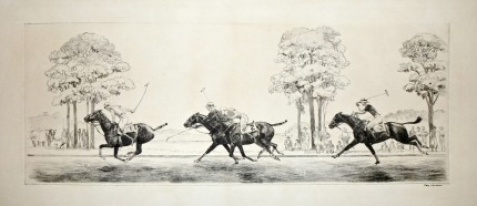 """Polo Game 1930"" Dry point etching, 6 x 16 inches, Signed in ink lower right"